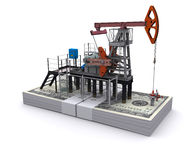 Oil pump-jack stands on a pack of dollars Stock Photography