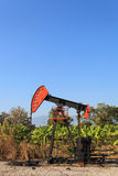 Oil Pump Jack (Sucker Rod Beam) in The Banana Field on Sunny Day. Oil Gas Industry Royalty Free Stock Photos