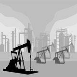 Oil Pump Jacks. Environment silhouettes is original artwork.  The vector file is in AI-EPS 8 format Royalty Free Stock Photos