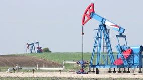 Oil pump jacks stock video