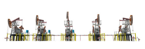 Oil pump-jacks. Front view. Isolated Royalty Free Stock Images