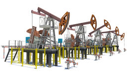 Oil pump-jacks. Isolated Stock Photography