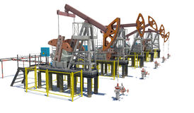 Oil pump-jacks. Isolated Stock Images