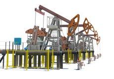 Oil pump-jacks. Isolated Royalty Free Stock Photo