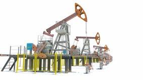 Oil pump-jacks. Isolated stock video