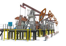 Oil pump-jacks. Isolated Royalty Free Stock Image