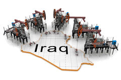 Oil pump-jacks on a map of Iraq Stock Images