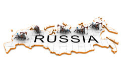 Oil pump-jacks on a map of Russia Stock Photos