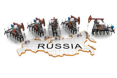 Oil pump-jacks on a map of Russia Stock Image
