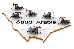 Oil pump-jacks on a map of Saudi Arabia Stock Photos