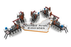 Oil pump-jacks on a map of United Arab Emirates Stock Photo