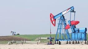 Oil pump jacks stock footage