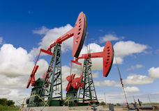Oil pump jacks Stock Photography