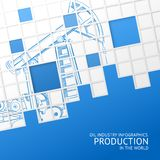 Oil pump mosaic card. Royalty Free Stock Photo