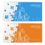 Oil pump mosaic card. Royalty Free Stock Image