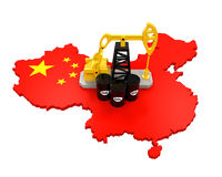 Oil Pump and Oil Barrels on China Map. Isolated on white background. 3D render stock illustration