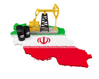 Oil Pump and Oil Barrels on Iran Map Stock Images