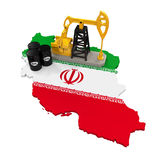 Oil Pump and Oil Barrels on Iran Map Stock Image