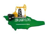 Oil Pump and Oil Barrels on Saudi Arabia Map Royalty Free Stock Photo