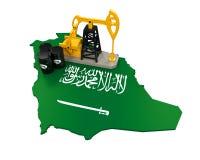 Oil Pump and Oil Barrels on Saudi Arabia Map Stock Photo