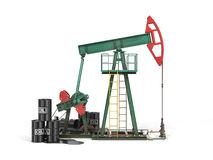 Oil pump with oil cans 3d. Royalty Free Stock Photo
