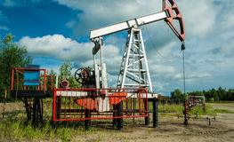 Oil pump, at the oil field. In the northern part of Russia Stock Images