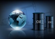 Oil pump oil rig energy industrial machine and barrels of oil Royalty Free Stock Photo