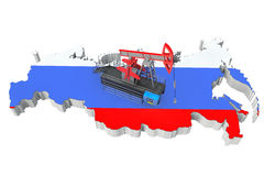 Oil Pump over Russia Map Royalty Free Stock Photo