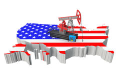 Oil Pump over United States Map. On a white background Stock Images
