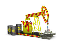 Oil pump. And a pack of dollars on a white background vector illustration