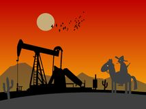 Oil pump silhouette. And lonely rider Stock Photos