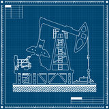 Oil pump silhouette on blueprint background. Stock Images