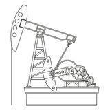 Oil pump. Silhouette of oil pump isolated on a white background, vector Royalty Free Stock Images