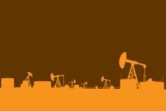 Oil pump silhouettes landscape illustration. Oil pump and oil refinery simple silhouettes landscape illustration Stock Image