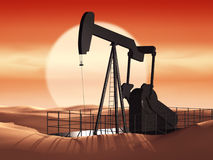 Oil pump at sunset. Ecology problem stock photo