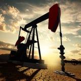 Oil pump on the sunset sky. Very high resolution 3d rendering of an oil pump on the sunset sky stock illustration