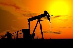 Oil Pump Under Hot Sky Stock Photo