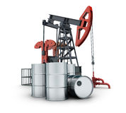 Oil pump on white background. Oil pump and barrel on white background (done in 3d rendering Stock Photo