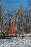 Oil pump in winter Royalty Free Stock Image