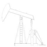 Oil pump. Wire frame. 3d render isolated on a white background Royalty Free Stock Image