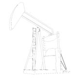 Oil pump. Wire frame. 3d render isolated on a white background Royalty Free Stock Photos