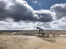 Oil pumping equipment. Ayoluengo petroleum field. Burgos, Spain. Energy production stock photography
