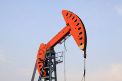 Oil pumping unit in working Royalty Free Stock Photo