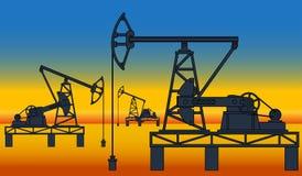 Oil pumpjack derricks Stock Photo