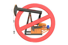 Oil pumpjack with forbidden sign Stock Photo