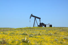 Oil Pumpjack on Prairie Royalty Free Stock Photos