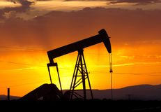 Oil Pumpjack Sunset 5 Stock Image