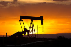 Oil Pumpjack Sunset 8 Stock Images