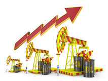 Oil pumps and arrow Stock Photo