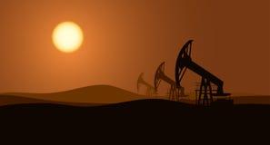 Oil pumps background vector illustration